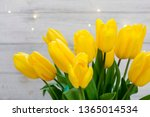 bouquet of yellow tulips and... | Shutterstock . vector #1365014534