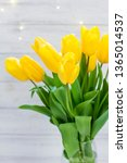 bouquet of yellow tulips and... | Shutterstock . vector #1365014537