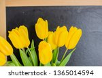 a bouquet of yellow tulips on a ... | Shutterstock . vector #1365014594