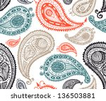 doodle paisley seamless pattern.