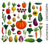 vegetables set. variety of...   Shutterstock .eps vector #1365106094