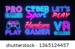gaming collection neon signs... | Shutterstock .eps vector #1365124457