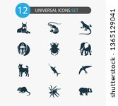zoo icons set with lynx  spider ... | Shutterstock .eps vector #1365129041