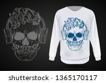 angry skull with cirly... | Shutterstock .eps vector #1365170117