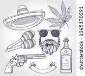hand drawn sketch  sombrero ... | Shutterstock .eps vector #1365170291