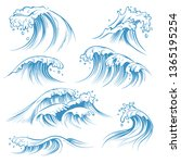 hand drawn ocean waves. sketch... | Shutterstock . vector #1365195254