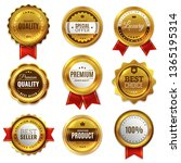 gold badges seal quality labels.... | Shutterstock . vector #1365195314