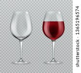 realistic wineglass. empty and... | Shutterstock . vector #1365196574