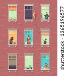 windows with people. opened... | Shutterstock . vector #1365196577