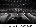 dark cellar with old bottles of ... | Shutterstock . vector #136522655