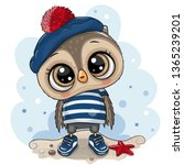 cute baby cartoon owl in sailor ... | Shutterstock .eps vector #1365239201