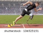explosive start of athlete with ... | Shutterstock . vector #136525151