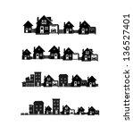 Stock vector vector black city icons set 136527401
