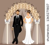 wedding arch with bride and... | Shutterstock .eps vector #1365275837