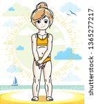 happy little fair haired girl... | Shutterstock .eps vector #1365277217