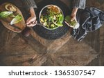 healthy dinner  lunch setting.... | Shutterstock . vector #1365307547