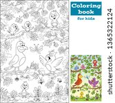 coloring book with birds. hand... | Shutterstock .eps vector #1365322124