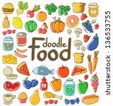 Colored Doodle Food Set Of 50...
