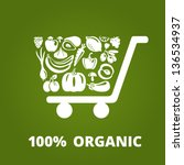 shopping cart with organic... | Shutterstock .eps vector #136534937
