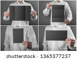 a man in a white shirt holding... | Shutterstock . vector #1365377237