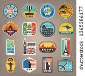 travel stickers. vacation... | Shutterstock .eps vector #1365386177