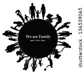 frame with family silhouettes. | Shutterstock . vector #136539065