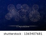 big realistic firework show on... | Shutterstock .eps vector #1365407681
