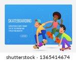 teenagers on skateboards... | Shutterstock .eps vector #1365414674