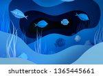 paper underwater sea cave with...   Shutterstock . vector #1365445661