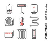 heating and cooling line icons. ... | Shutterstock .eps vector #1365469667