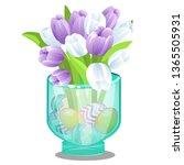 glass vase with fresh flowers... | Shutterstock .eps vector #1365505931