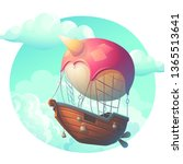 vector illustration air ship in ... | Shutterstock .eps vector #1365513641