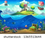 undersea world with airship on... | Shutterstock .eps vector #1365513644