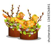 easter decor with willow... | Shutterstock .eps vector #1365526841