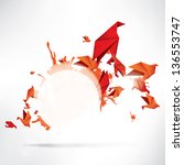 origami paper bird on abstract... | Shutterstock . vector #136553747