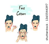 woman take care about face... | Shutterstock .eps vector #1365544397