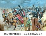 Medieval cavalry attack illustration. Battle with teutonic knights. Medieval battlefield.