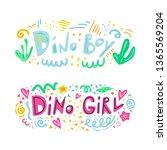 dino boy and dino girl...   Shutterstock .eps vector #1365569204