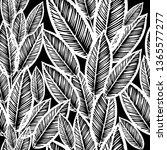monochrome leaves seamless... | Shutterstock .eps vector #1365577277