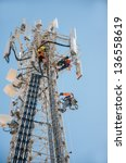 tower climber and working on... | Shutterstock . vector #136558619