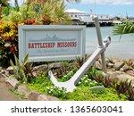 A display of a decommissioned USS Missouri battleship anchor near Honolulu Hawaii