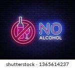no alcohol neon sign vector.... | Shutterstock .eps vector #1365614237