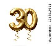 number 30 gold foil helium... | Shutterstock . vector #1365619511