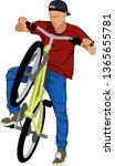 isolated male doing bike trick   | Shutterstock .eps vector #1365655781