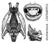 set of bats. bat with wings ... | Shutterstock .eps vector #1365680921
