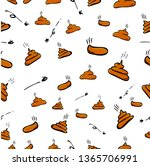 Simple Brown Hand Draw Sketch Seamless Pattern 4 Poop with fly