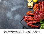 Red King Crab On Gray...