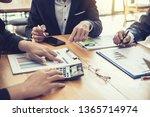 businessman present graph... | Shutterstock . vector #1365714974