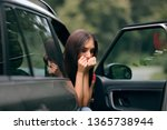 car sick travel woman with... | Shutterstock . vector #1365738944