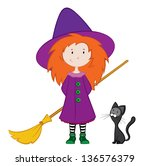 illustration of a witch with a... | Shutterstock . vector #136576379